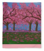 Pink Garden, Oil Painting Fleece Blanket