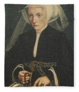 Portrait Of A Lady Holding A Rosary Fleece Blanket