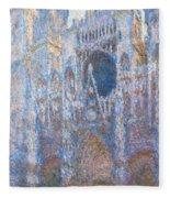 Rouen Cathedral, West Facade Fleece Blanket