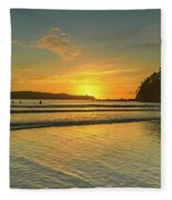 Sunrise Seascape From The Beach Fleece Blanket