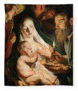 The Holy Family With Shepherds Fleece Blanket