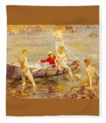 Tuke Henry Scott Ruby Gold And Malachite Henry Scott Tuke Fleece Blanket