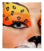 Young Female Model With Make Up Mask Fleece Blanket