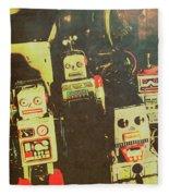 60s Cartoon Character Robots Fleece Blanket