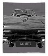 66 Vette Stingray In Black And White Fleece Blanket