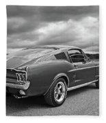 67 Fastback Mustang In Black And White Fleece Blanket