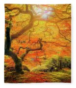 7 Abstract Japanese Maple Tree Fleece Blanket