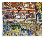 Ancient Orthodox Church Interior Painted Walls In Gondar Ethiopi Fleece Blanket
