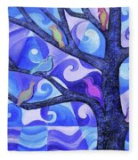7 Birds On A Tree Fleece Blanket