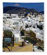 Cliff Perched Houses In The Town Of Oia On The Greek Island Of Santorini Greece Fleece Blanket