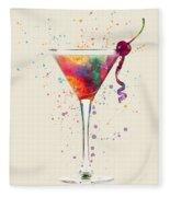 Cocktail Drinks Glass Watercolor Fleece Blanket