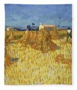 Corn Harvest In Provence Fleece Blanket