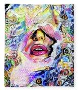 Hidden Face With Lipstick Fleece Blanket