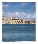 La Valletta Old Town Fortifications Architecture Scenic View In  Fleece Blanket