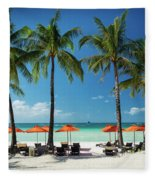 Main Beach Of Tropical Paradise Boracay Island Philippines Fleece Blanket