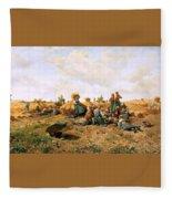 Peasants Lunching In A Field Daniel Ridgway Knight Fleece Blanket