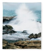 Rocks And Waves At Point Cartwright  Fleece Blanket