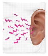 Sound Entering Human Outer Ear Fleece Blanket