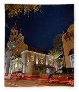 St Augustine City Street Scenes Atnight Fleece Blanket