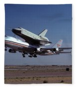747 Takes Off With Space Shuttle Enterprise For Alt-1 Fleece Blanket