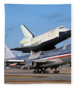 747 Takes Off With Space Shuttle Enterprise For Alt-4 Fleece Blanket