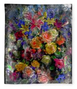 7a Abstract Floral Painting Digital Expressionism Fleece Blanket