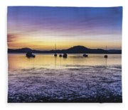 Dawn Waterscape Over The Bay With Boats Fleece Blanket