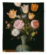 Flower Vase Fleece Blanket