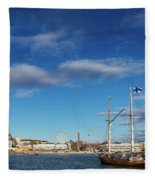 Old Sailing Boats In Helsinki City Harbor Port Finland Fleece Blanket