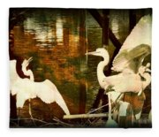 9 Egrets Fleece Blanket