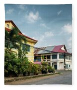 Old French Colonial Architecture In Kampot Town Street Cambodia Fleece Blanket