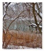 The Bass River In Winter Fleece Blanket