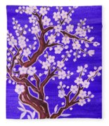 White Tree In Blossom, Painting Fleece Blanket