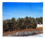 A Barn In The Snow In Maine Fleece Blanket