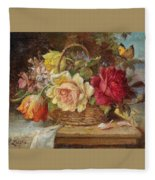 A Basket Of Flowers And A Butterfly Hans Zatzka Fleece Blanket