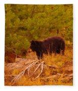 A Bear Staring At Something Fleece Blanket