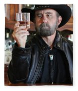 A Bearded Cowboy In Black Contemplates His Whiskey In A Saloon Fleece Blanket