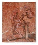 A Bearded Saint Kneeling Fleece Blanket