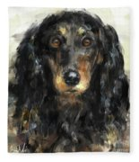 A Beautiful Artistic Painting Of A Dachshund  Fleece Blanket