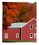 A Beautiful Country Building In The Fall 2 Fleece Blanket