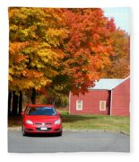 A Beautiful Country Building In The Fall 4 Fleece Blanket