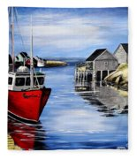 A Beautiful Day At Peggy's Cove  Fleece Blanket