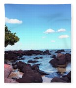 A Beautiful View Of The Sea From Mauritius Fleece Blanket