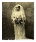 A Beautiful Vintage Photo Of Coloured Colored Lady In Her Wedding Dress Fleece Blanket