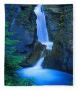 A Beautiful Waterfall, Johnston Canyon Fleece Blanket