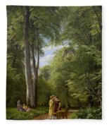 A Beech Wood In May Near Iselingen Manor Fleece Blanket
