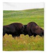 A Bison Brawl Fleece Blanket