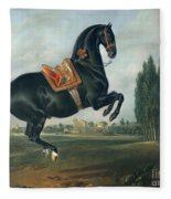 A Black Horse Performing The Courbette Fleece Blanket