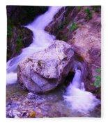 A Boulder Splitting The Rocks Fleece Blanket