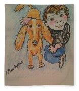 A Boy And His Dog Fleece Blanket